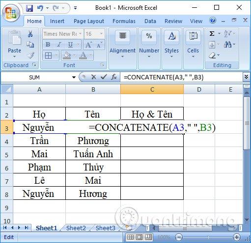 Sử dụng hàm Concatenate nối cột Excel