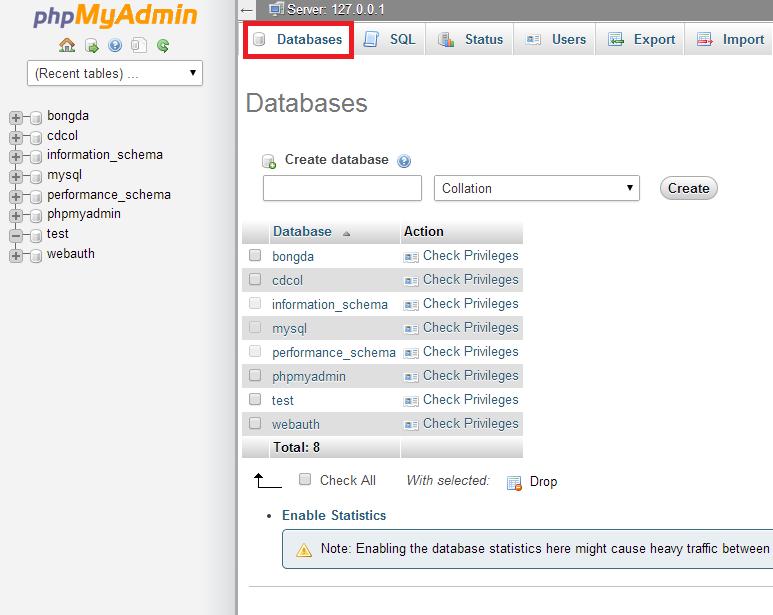 Giao diện quản lý database trên phpMyAdmin