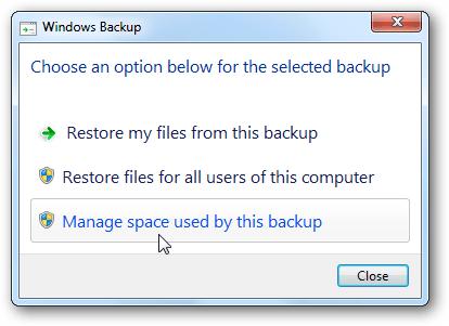 bạn có thể restore (khôi phục) các tập tin hoặc quản lý kích thước các thư mục sao lưu