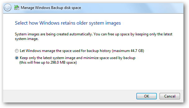 thay đổi việc giữ lại hình ảnh của hệ thống từ các bản sao lưu cũ trước đó