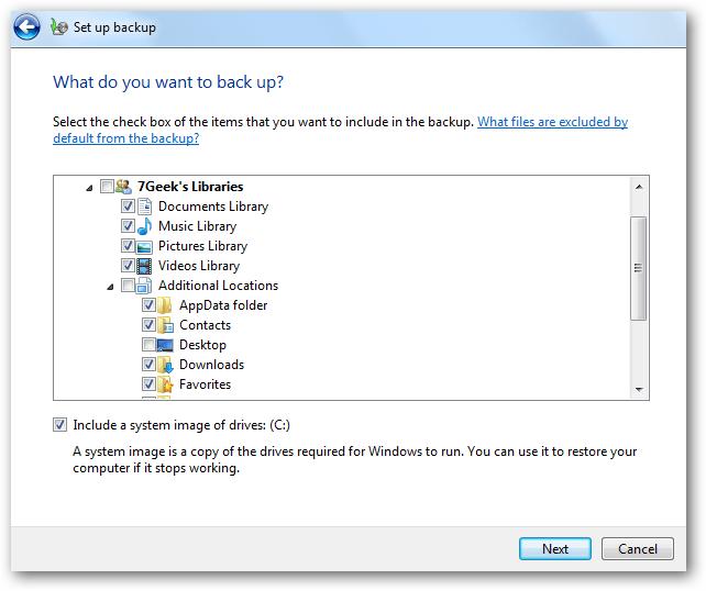 đánh tích chọn tùy chọn Include a system image of drives: (C:)