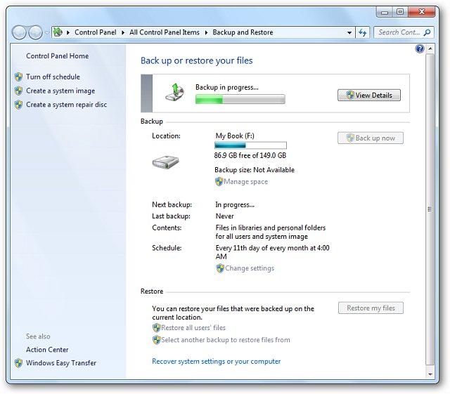 Lưu lại các thiết lập sao lưu và quá trình Backup sẽ được thực hiện theo yêu cầu của bạn