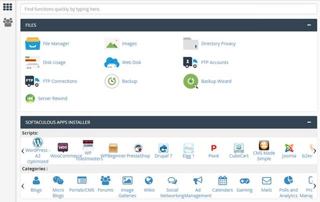 Giao diện cPanel
