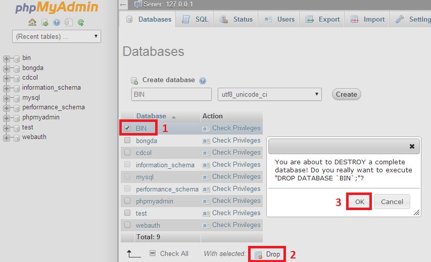 Xóa database