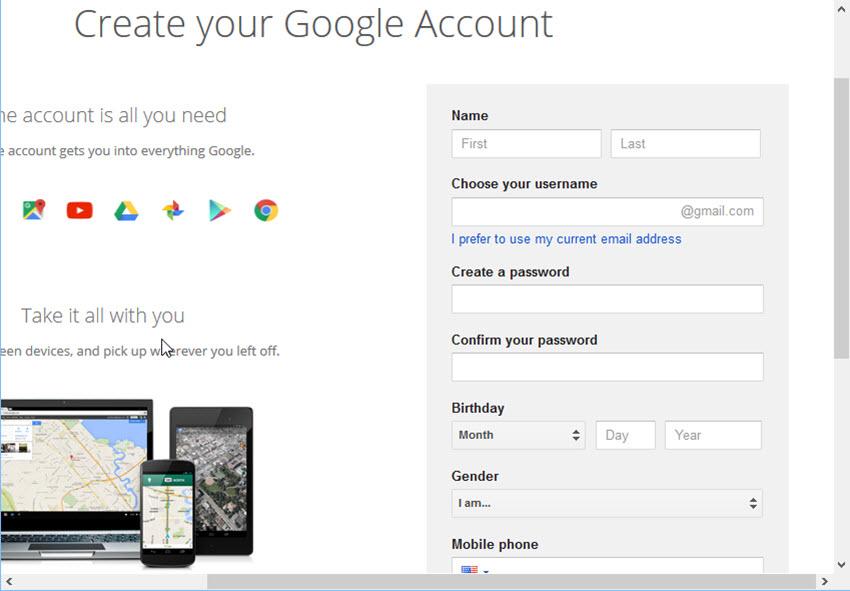 Create your Google Account window