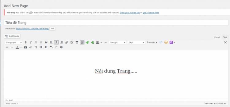 Hướng Dẫn tạo Trang (page)