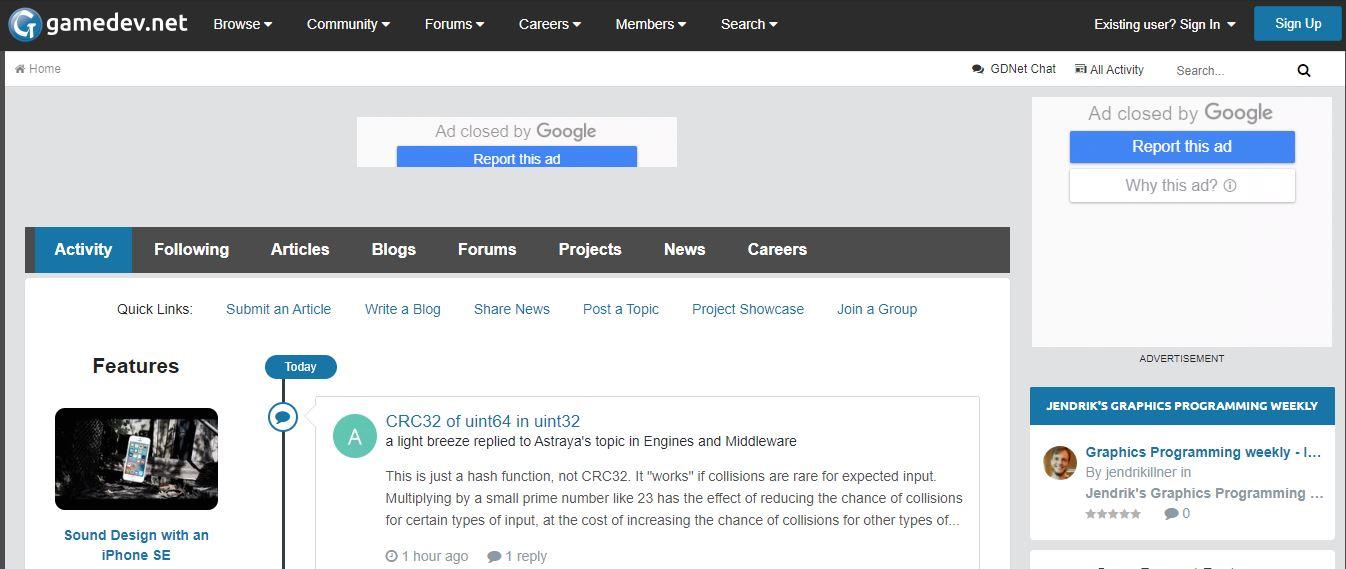 Trang web dạy học lập trình game Gamedev.net.