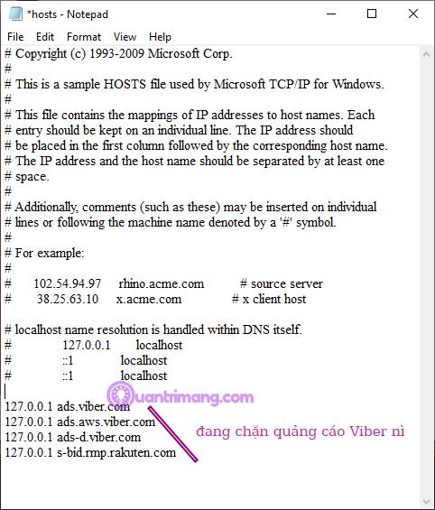 Chỉnh sửa file hosts trong Notepad