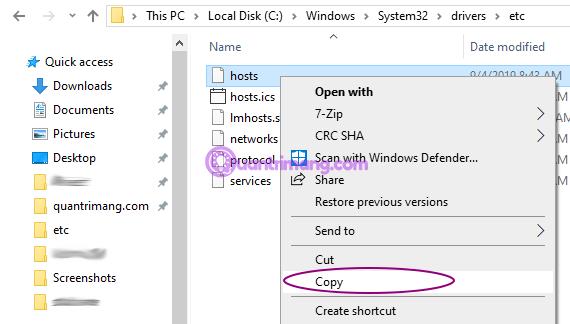 Sao chép file hosts sang thư mục khác