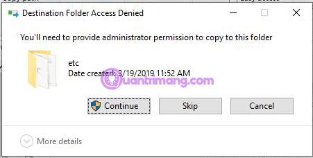 Nhấn vào Continue để dán file