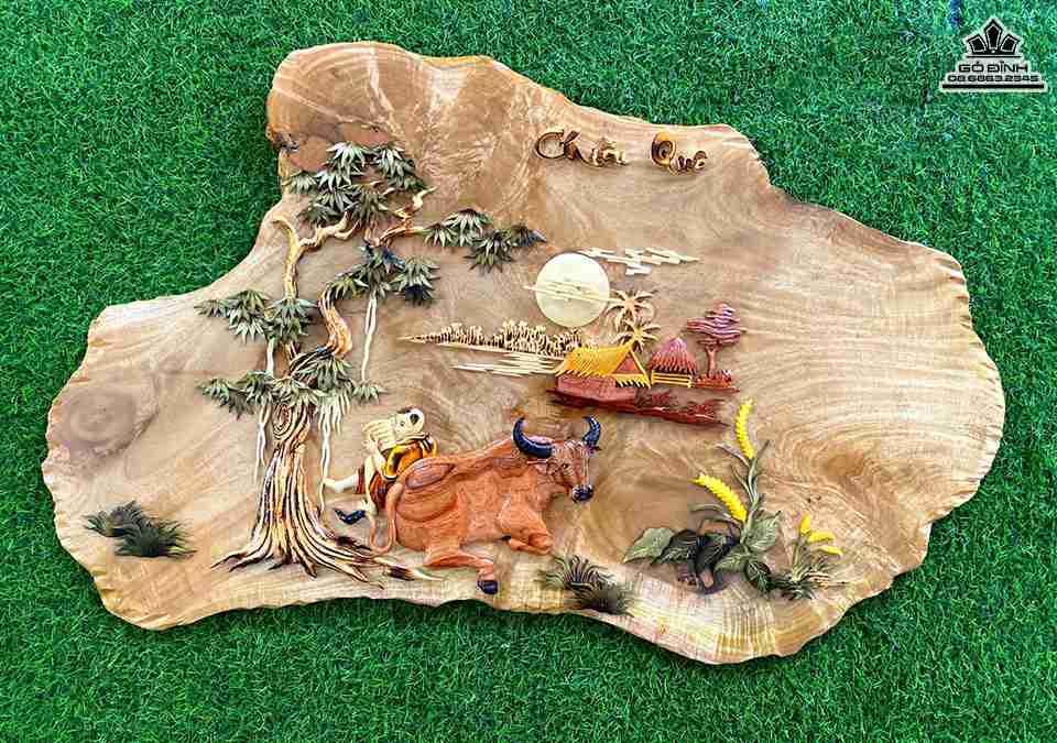 Tranh gỗ Quê Hương