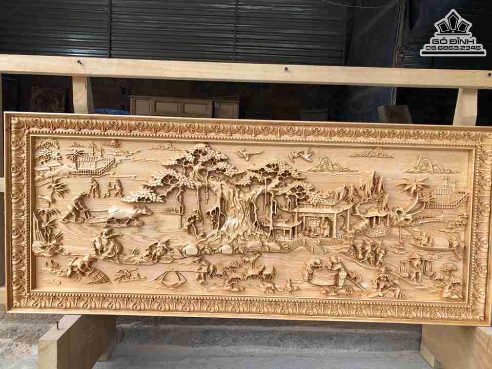 Tranh đồng quê gỗ Pơ Mu